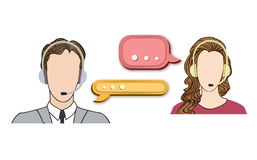 Call center icon set with man and woman in headset. Royalty Free Stock Photo