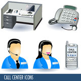 Call center icons. Collection of five call center illustration icons Royalty Free Stock Photos