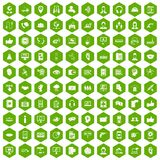 100 call center icons hexagon green. 100 call center icons set in green hexagon vector illustration stock illustration