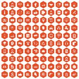 100 call center icons hexagon orange. 100 call center icons set in orange hexagon isolated vector illustration Vector Illustration