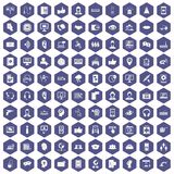 100 call center icons hexagon purple. 100 call center icons set in purple hexagon isolated vector illustration Stock Illustration