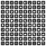 100 call center icons set black. 100 call center icons set in black color isolated vector illustration Stock Illustration