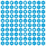 100 call center icons set blue. 100 call center icons set in blue hexagon isolated vector illustration Stock Photos