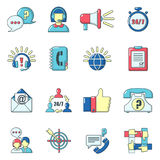Call center icons set, cartoon style. Call center icons set. Carrtoon illustration of 16 call center vector icons for web Stock Images