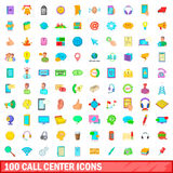 100 call center icons set, cartoon style. 100 call center icons set in cartoon style for any design vector illustration Royalty Free Stock Photo