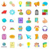 Call center icons set, cartoon style. Call center icons set. Cartoon style of 36 call center vector icons for web isolated on white background Royalty Free Stock Images