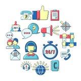 Call center icons set, cartoon style. Call center icons set. Carrtoon illustration of 16 call center vector icons for web Vector Illustration