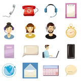 Call center icons set, cartoon style Royalty Free Stock Photo