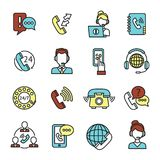 Call Center Icons Set Stock Photos
