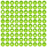 100 call center icons set green. 100 call center icons set in green circle isolated on white vectr illustration Stock Photography