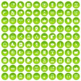 100 call center icons set green circle. Isolated on white background vector illustration Stock Photo