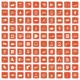 100 call center icons set grunge orange. 100 call center icons set in grunge style orange color isolated on white background vector illustration Stock Illustration