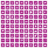 100 call center icons set grunge pink. 100 call center icons set in grunge style pink color isolated on white background vector illustration Stock Images