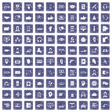 100 call center icons set grunge sapphire. 100 call center icons set in grunge style sapphire color isolated on white background vector illustration Stock Image