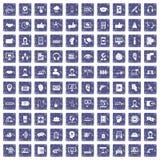 100 call center icons set grunge sapphire. 100 call center icons set in grunge style sapphire color isolated on white background vector illustration Vector Illustration