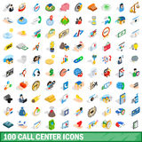 100 call center icons set, isometric 3d style Stock Images