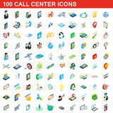 100 call center icons set, isometric 3d style Royalty Free Stock Image