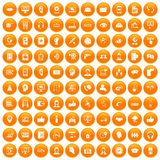 100 call center icons set orange. 100 call center icons set in orange circle isolated on white vector illustration Vector Illustration