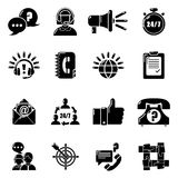 Call center icons set, simple style. Call center icons set. Simple illustration of 16 call center vector icons for web Royalty Free Stock Photo