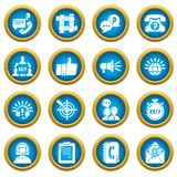 Call center icons set, simple style. Call center icons set. Simple illustration of 16 call center vector icons for web Stock Photos