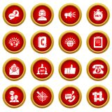 Call center icons set, simple style. Call center icons set. Simple illustration of 16 call center vector icons for web Royalty Free Stock Photos