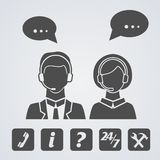 Call center icons set Royalty Free Stock Photography