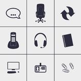 Call center icons. Set of icons on a theme Call center Royalty Free Stock Photo