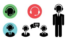 Call center icons. Vector call center icons of operator in headset Stock Photo