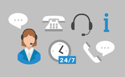 Call center icons vector set Stock Photos