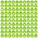 100 Call-Center-Ikonen grün eingestellt Stockfotografie