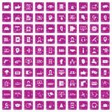 100 Call-Center-Ikonen stellten Schmutzrosa ein Stockbilder