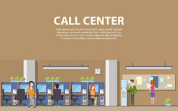 Call center interior with consultants for social assistance and computers. Man and woman answering customer question calls for help in office. Indoor view on Stock Photos