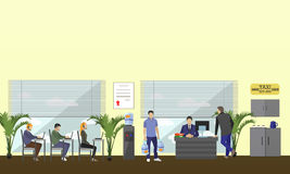 Call center interior vector banner. Customer service and support company concept. Stock Images