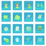 Call center items icon blue app Stock Photos