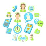 Call center items icons set, cartoon style Royalty Free Stock Image