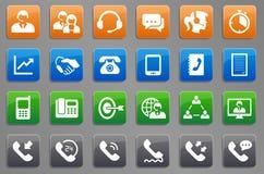 24 Call-Center-Kommunikations-Knopf-Ikonen stock abbildung