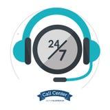 Call-Center-Kopfhörer 24 Stunden 7 Tag immer stock abbildung
