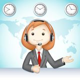 Call Center Lady. Illustration of 3d business lady in vector talking on headphone in call center Stock Image