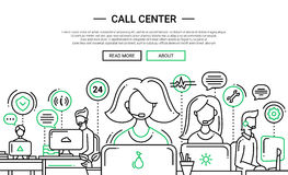 Call Center - line design website banner temlate. Call Center - illustration of vector modern simple line design composition and infographics elements with Royalty Free Stock Photography