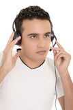 Call center male hispanic operator isolated on Royalty Free Stock Image