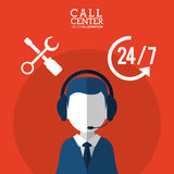 Call center male service support 24-7 Stock Photo