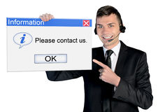 Call center man. With contact us message Royalty Free Stock Photo