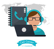 Call center man operator contacts laptop. Illustration eps 10 Royalty Free Stock Photos
