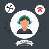 Call center man operator support helpline gears. Illustration eps 10 Stock Images