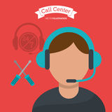 Call center man operator technical help. Illustration eps 10 Stock Image