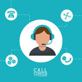 Call center man operator wearing headphone support. Illustration eps 10 Stock Images