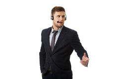 Call center man talking through phone. Royalty Free Stock Photography