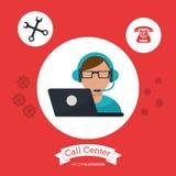 call center man wearing headphones service stock illustration