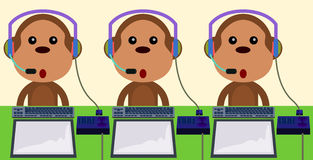 Call center monkeys Stock Image