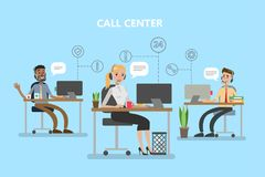 Call center office. People with headset working with clients Stock Image